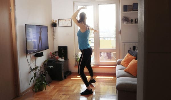 Workout video game at home