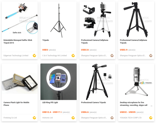 different types of tripod at HKTDC Sourcing