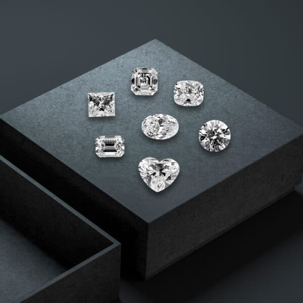 White diamonds in various shapes